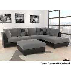 2pc Stella Lounge w/ Right Chaise & Pillows in Grey | Buy Fabric Sofas