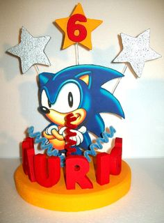 SONIC the HEDGEHOG custom 3D cake topper / centerpiece PERSONALIZED on Etsy, £26.04
