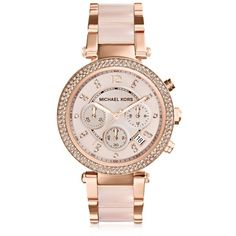 Michael Kors Designer Women's Watches Mid-Size Rose Golden Stainless... ($295) ❤ liked on Polyvore featuring jewelry, watches, accessories, bracelets, relógios, rose watches, bezel watches, michael kors watches, drusy jewelry and chronograph wrist watch