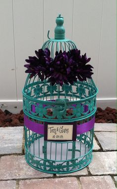 Wedding Reception Birdcage Card Holder, Wedding Card Box, Teal, Turquoise & Purple on Etsy, $45.00