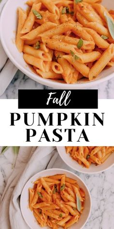 This creamy Vegan Pumpkin Pasta with Sage recipe is total Fall deliciousness! With pumpkin puree and warm Fall spices like cinnamon and nutmeg, and also fresh sage, this is total comfort and cozy in every bite! Best part is it is ready in less than 30 minutes! #veganpumpkinpasta #pumpkinpasta #pasta #pumpkin #fallrecipes #easyfallrecipes #pastarecipes #fallpasta #sagepasta #easypasta #savoringitaly #fallpumpkin