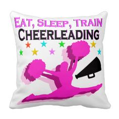 PINK EAT SLEEP TRAIN CHEERLEADING THROW PILLOW Calling all Cheerleaders! Enjoy the best selection of Cheerleading Tees and Gifts from Zazzle. 40% Off Pillows 15% Off Sitewide Use Code: ZAZFLASHSAVE  http://www.zazzle.com/mysportsstar/gifts?cg=196898030795976236&rf=238246180177746410 #Cheerleading #Cheerleader #Cheerleadergift #Lovecheerleading