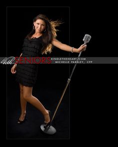 portraits of singers with microphones | manchester tn senior poses with mic for senior pictures