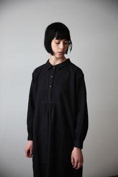 Black Linen-Wool Shirt Dress | cendre