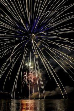 Fireworks on the Hudson River.