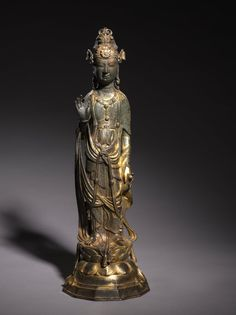 Bodhisattva Guanyin, 900s China, Liao dynasty (916-1125) gilt bronze, Overall: h. 43.80 cm (17 3/16 inches); Diameter of base: w. 14.60 cm (5 11/16 inches).