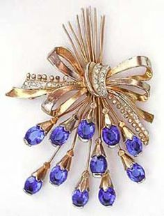 Staret Royal Blue Rhinestone Spray Brooch - Garden Party Collection Vintage Jewelry
