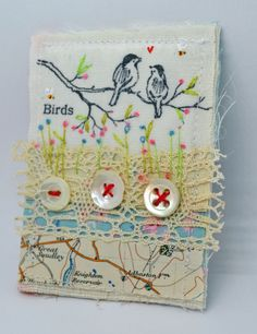 Hello and welcome to my Etsy listing.    Handmade, all textile Brooch or Pin. Simple, folk style stitching.    Sweet little picture on silk, of Birds,