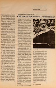 "Ohio University Today, Summer 1983. ""'Yet this school changed my life.…' CBS News Chief Keynotes Commencement."" Van Gordon Sauter '57 at the podium. :: Ohio University Archives"