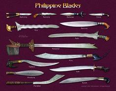 Filipino weapons for kali escrima Philippine Mythology, Philippine Art, Filipino Art, Filipino Culture, Filipino Tribal, Filipino Tattoos, Swords And Daggers, Knives And Swords, Cultura Filipina