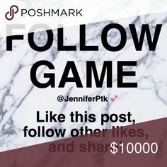 Get new followers! Follow Game  Like this post, follow the other people who have liked, and share! Tag your PFFs and let's grow our closets together! ✨✨✨ Related searches: follow train, follow game, new followers, PFF Let's help make sales and match people to their ISOs! Other