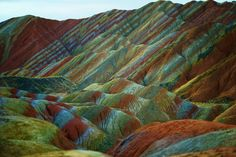 Natural Rock colorful rock formations at the Zhangye Danxia Landform Geological Park in Gansu China [2500 x 1667]. -Please check the website for more pics