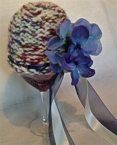 Cloche hat for infant  Big blue flower with by AprilsYarnables