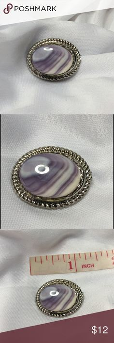 "🆕1"" Silver and Polished Banded Amethyst Stone Pin A 1"" x 1/2"" petite pin with a polished Banded Amethyst stone in a silver setting. Some patina around the base of the pin, most likely from the glue when it was set, which is not noticeable when worn because it is a high setting. The stone is in excellent vintage condition, and could easily be placed in another setting. Amethyst fans, here's one for you! Vintage Jewelry Brooches"