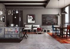 Stunning rustic living room with polished concrete floors. By asf