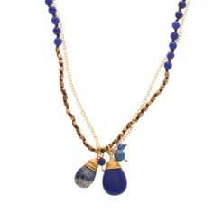 #Layer a few gold necklaces with this to get a boho-chic look. 45 in. long double strand #necklace with #lapis and #gold beads, cluster of tear drop lapis #charms at the bottom of necklace with #button closure. * Marlee's Designs * #Boheme Collection Long Necklace With Lapis and Gold Bead and Charms | Marlee's by Tappers | www.marleesstyle.com