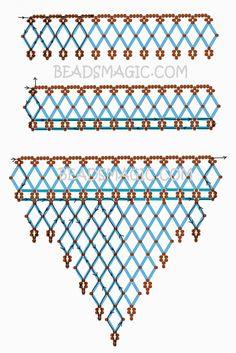 Free pattern for necklace Waterfall | Beads Magic U need: seed beads 11/0 bugle beads Su yeşili kesme boncuklu kolyenin şablonu