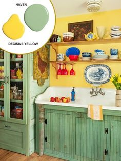 Open Shelves for Flaunting Bright Dishware