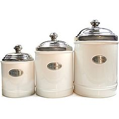 White Canisters with Metal Plated Covers (Set of 3)