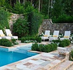Home Design and Decor , Swimming Pool Landscaping Ideas : Pool Landscaping Ideas With Boxwood Planters