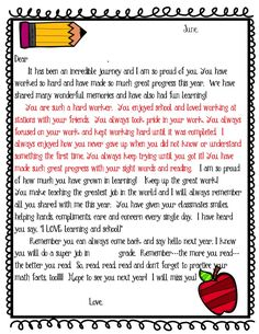 Editable Student End of Year Letter Freebie This student end of year letter is exactly what I have sent home at the end of the year. The paragraph in red is what I change to make each letter a bit more personalized. I hope you enjoy it for years to come! This Freebie can be found on https://www.teacherspayteachers.com/Product/Editable-Student-End-of-Year-Letter-Freebie-1873769 https://www.teachersnotebook.com/product/Joy/editable-end-of-year-student-letter-freebie