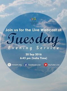 Join our Tuesday Evening Service at 6:45PM today. Don't miss it. This is a bilingual service - English with Tamil translation. -Watch Live: [Click on Image] - Listen Live: http://www.revsam.org/listen-live?utm_source=pinterest&utm_medium=link&utm_campaign=tuesdayservice-tueservice-03-sep16 - Facebook Live : https://www.facebook.com/revsam.org - Youtube Live: https://www.youtube.com/c/aftmediadivision/live #RevSam #webcast #church