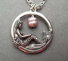 Mermaid Necklace Gift Beach Jewelry Ocean by PearlsForGirlz, $18.95