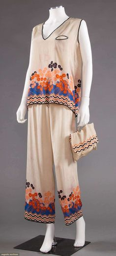 Beach pajamas, silk, 1930s