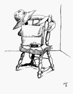 Pen sketch of chair bag and camera. See more at my blog: http://artistadron.blogspot.com/