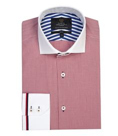 Men's Red & White Dogstooth Check Slim Fit Fashion Shirt - Contrast Detail (£ 59,-) | Hawes & Curtis