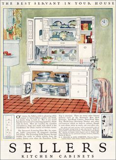 1923 Sellers Kitchen Cabinets - Vintage Kitchen - Design inspiration from the I want a Hoosier cabinet in my kitchen remodel. 1920s Kitchen, Kitchen Maid, Old Kitchen, Vintage Kitchen, Kitchen Cousins, Kitchen Retro, Retro Kitchens, Diner Kitchen, Kitchen Ideas