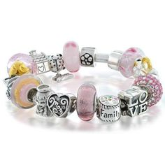 Family Love Pink Mother Beads Bracelet 925 Silver Compatible with Pandora Chamilia Bracelets Dog Jewelry, Pink Jewelry, Bead Jewellery, Heart Jewelry, I Love Jewelry, Beaded Jewelry, Beaded Bracelets, Silver Jewellery, Silver Bangles