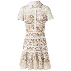 Pre-owned Elie Saab Mid-Length Dress (€900) ❤ liked on Polyvore featuring dresses, white, women clothing dresses, short-sleeve lace dresses, zipper dress, lace dress, white flared dress and white flare dress