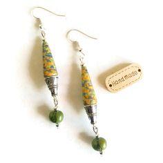 Boucles d'Oreilles Graines d'Açaï - Perles en papier artisanales - Ethniques - Bohèmes - Vertes : Boucles d'oreille par cap-and-pap