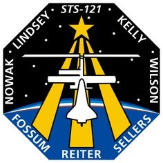 The patch depicts the Shuttle docked with the ISS overlaying the astronaut symbol. The ISS is shown in the configuration that it will be in during the mission. The background shows the nighttime Earth with dawn breaking over the horizon. Leonard Nimoy, Space Patch, Nasa Patch, Project Mercury, Astronomy Pictures, Nasa Missions, Kennedy Space Center, Free Mind, International Space Station