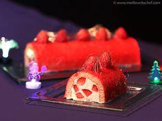 Bûche fraises et champagne, cage au caramel