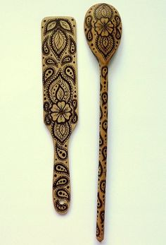 2 pc Indian Art wood Spoon and Spatula Set / Woodburning / Pyrography