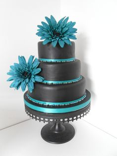 black and teal wedding cake by Pagancakegirl, via Flickr