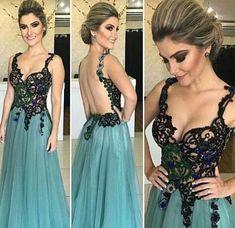 Green v neck lace long prom dress, green evening dress, women fashion dress