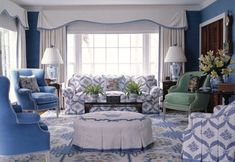 Make one to two blues dominate the larger spaces, walls and furniture pillows, bowls, decorations a variety of shades
