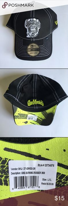 NWT Gas Monkey Garage L/XL Fitted Hat NWT Gas Monkey Garage size L/XL Fitted Hat. Black with neon green accents and white stitching. Accessories Hats