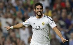 Real Madrid playmaker Isco says the players are happy to have picked up three points against Las Pal. Real Madrid 2014, Real Madrid Club, Isco, International Football, Football Soccer, Cristiano Ronaldo, Running, Mens Tops, Granada