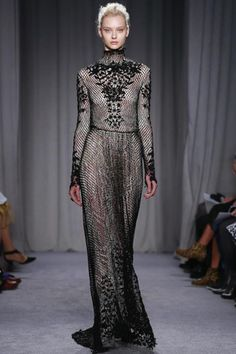 Marchesa Ready To Wear Fall Winter 2014 New York...I see another wedding jumpsuit. Love the details & fabric. Imagine this in your wedding colors. Work with your dressmaker to achieve this look for your wedding day.