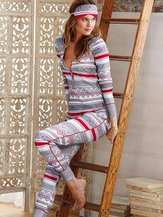 The Fireside Long Jane Pajama in Color Red Aqua Fair Isle $54.50 - Victoria's Secret