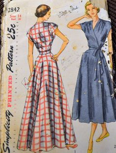 Vintage 1940's Sewing Pattern Simplicity 2842 by GoofingOffSewing, $15.00