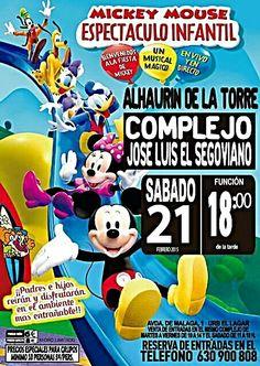 """SABADO 21 DE FEBRERO A LAS 18.00 H. La Gran Fiesta de Mickey y sus amigos.  Un """"Mundo Mágico"""" donde se consigue a modo de interacción y participación la colaboración y la complicidad con el publico. Donde padres e hijos reirán y disfrutaran en el ambiente mas entrañable.  Compra tu entradas de martes a viernes de 10.00h a 14.00h y sabado y domingo de 11.00h. a 18.00h. Adultos 8 €. Niños 6 € AFORO LIMITADO"""