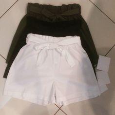 Shorts #cotone #cintura #fiocco #bianco #verde #nero #valeria #abbigliamento