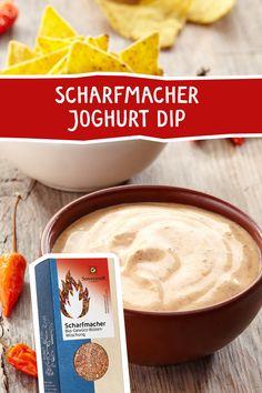 """Unser """"all time favourite"""" der """"Scharfmacher"""" beweist wieder einmal seine Vielseitigkeit in dieser super feinen und pikanten Grillsauße, sie eignet sich auch hervorragend als feiner Dip. #dip #sauce #grillen #grillsauce #fingerfood #grillarty #taco #scharfmacher #gewürze #spices Dip, Peanut Butter, Cheese, Yogurt, Finger Food, Vegetarian Grilling, Browning, Salsa, Nut Butter"""