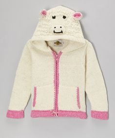 Take a look at this White & Pink Sheep Zip-Up Wool-Blend Hoodie - Toddler & Girls by EARTH RAGZ on #zulily today!