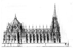 Karl Friedrich Schinkel's projected side elevation for a National German Cathedral in 1815, Berlin